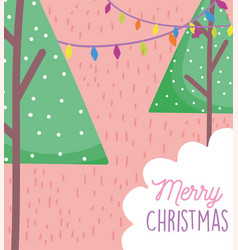 trees snow garland lights merry christmas card vector image