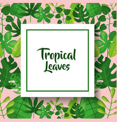 Tropical leaves greeting card green vector