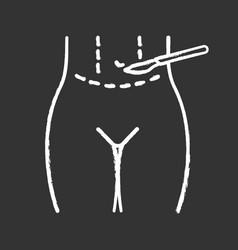 Tummy tuck plastic chalk icon vector