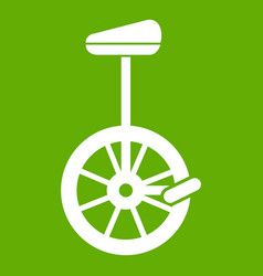 Unicycle icon green vector