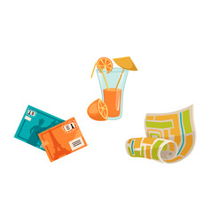 Vacation objects - tourist map juice postcards vector