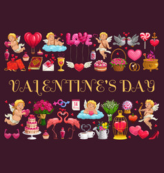 valentines day symbols and angels vector image