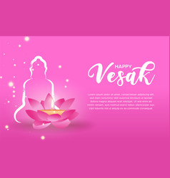 Vesak day card template pink lotus and candle vector