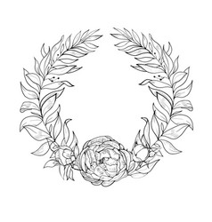 vintage wreath of flowers and leaves vector image