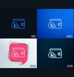 wallet with cash money line icon vector image
