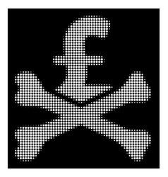 White halftone mortal pound debt icon vector