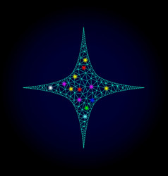 wire frame mesh space star with glowing vector image