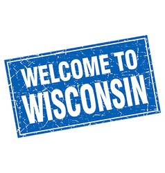 Wisconsin blue square grunge welcome to stamp vector