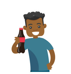young african-american man holding bottle of soda vector image