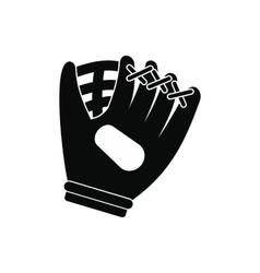 Baseball glove black simple icon vector image vector image
