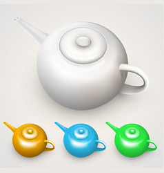 bright colored teapots vector image vector image