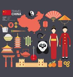 china flat icons design travel vector image