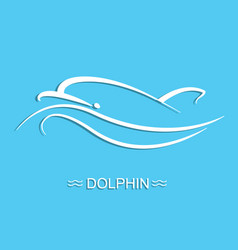 dolphin logo on blue sea background flat vector image vector image