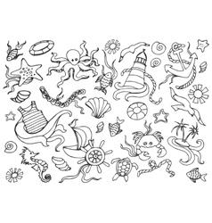 Doodle set of sea vector image vector image