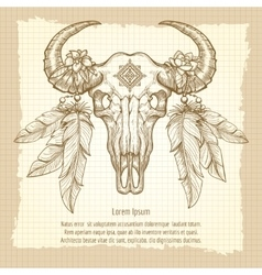 Hand drawn buffalo skull vintage poster vector image