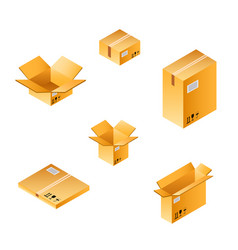 isometric box set of different size vector image vector image