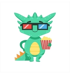 Little Anime Style Baby Dragon In Movie Theatre In vector image