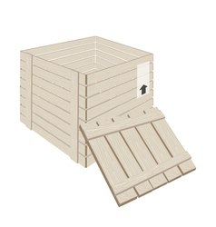 Open Wooden Cargo Box on White Background vector image