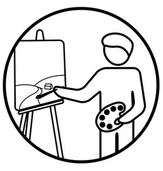 painter working on his masterpiece vector image vector image