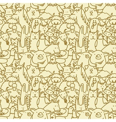 seamless background with farm animals vector image vector image