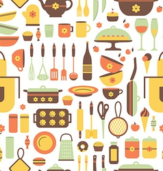 Seamless pattern of kitchen utensils vector image vector image