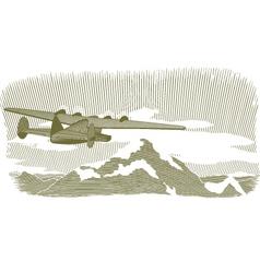 woodcut clipper scene vignette vector image vector image