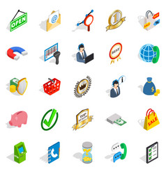 Business center icons set isometric style vector