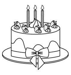 delicious cake with candles celebration icon vector image vector image