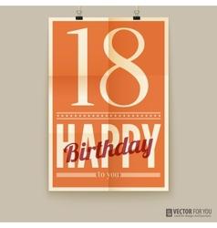 Happy birthday poster card eighteen years old vector image vector image