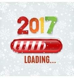 New year 2017 loading bar on winter background vector image vector image