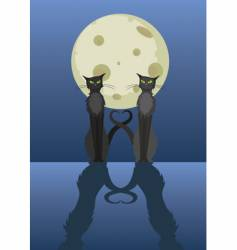 two cats under moon vector image vector image
