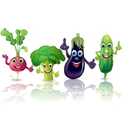 Funny vegetables radishes broccoli eggplant vector image