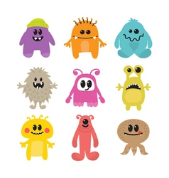 Set of cartoon funny smiley monsters Collection of vector image