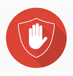 shield with hand block icon in flat style with vector image