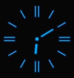 Abstract neon clock vector image vector image