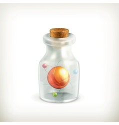 Atom in a bottle icon vector image vector image