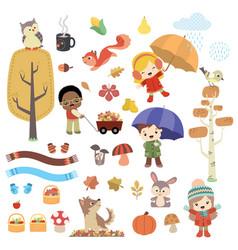 cute autumn children and animals design set vector image