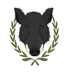 Hunting trophywild boar head in laurel wreath No vector image