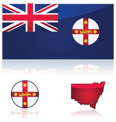 New South Wales flag and map vector image vector image