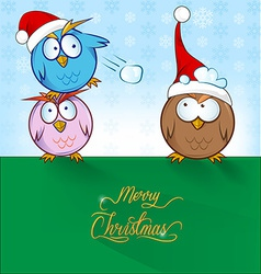 owl cartoon ON CHRISTMAS BACKGROUND vector image vector image