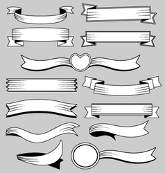 Ribbons banners in retro style vector