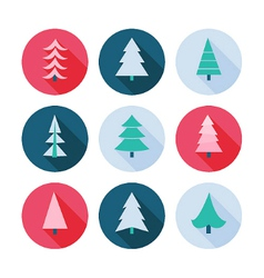 Set of Christmas trees icons vector image
