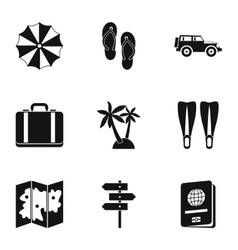 Travel to sea icons set simple style vector image