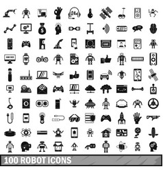 100 robot icons set simple style vector image