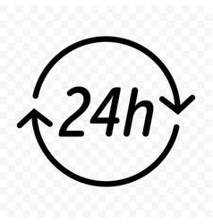 24 hours clock arrow icon round clock customer vector image