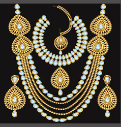 a set jewelry necklace and earrings for wedding vector image