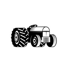 agricultural tractor monochrome silhouette vector image