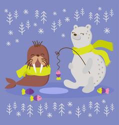 Alaska walrus flat design winter fishing vector