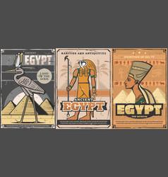Ancient egypt nefertiti pharaoh pyramids horus vector