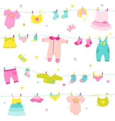 Baby girl cute background - for baby shower vector